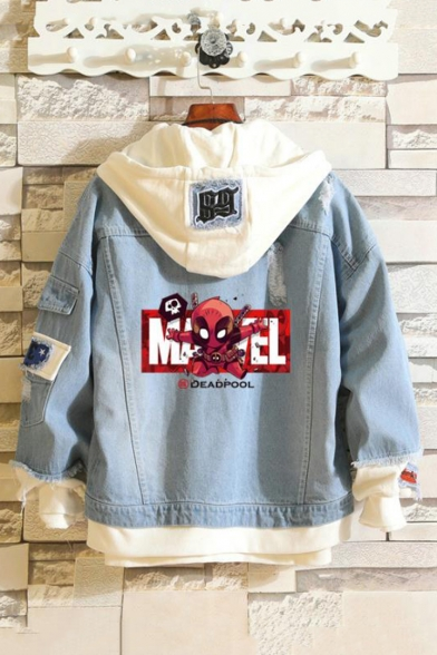 Fashion Cartoon Pattern Printed Long Sleeve Hooded Denim Panel Jacket Coat