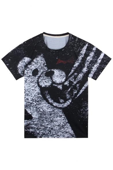 Hot Popular Black and White Bear Printed Round Neck Short Sleeve Unisex T-Shirt