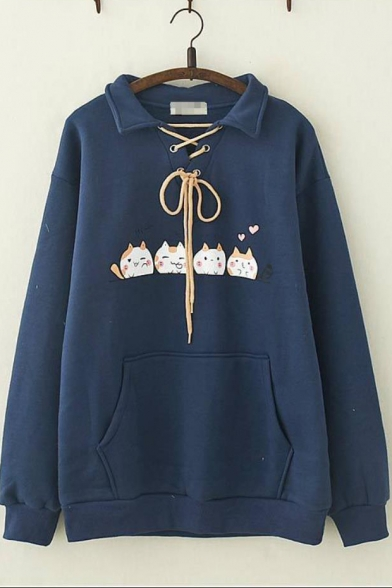 Lovely Cat Pattern Long Sleeve Lapel Collar Tie Front Pocket Loose Sweatshirt For Girls, LC562727, Baycheer  - buy with discount