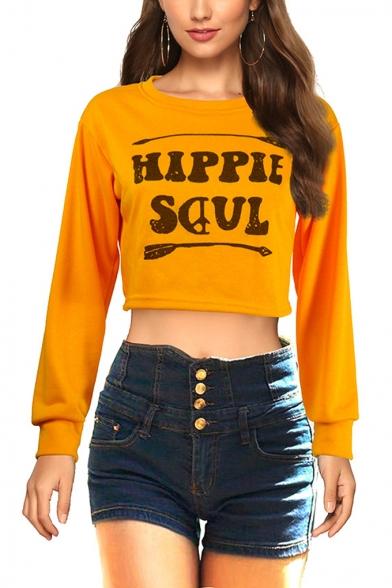Popular Arrow Letter HIPPIE SOUL Printed Round Neck Long Sleeve Orange Crop Sweatshirt