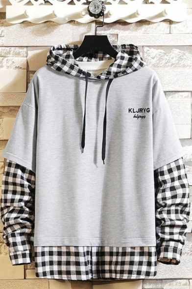 Popular Letter Pattern Plaid Patched Fake Two-Piece Long Sleeve Mens Drawstring Hoodie
