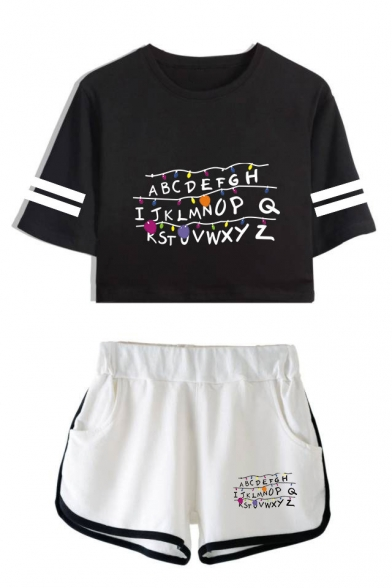 Trendy Stranger Things Letter Printed Short Sleeve Crop Tee with Dolphin Shorts Two-Piece Set, LC559022, Color 1;color 2;color 3;color 4;color 5;color 6;color 7;color 8
