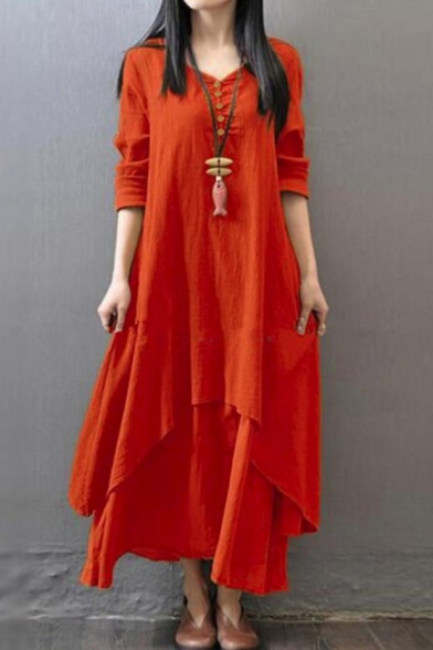 V Neck Long Sleeve Button Front Loose Maxi Layered Asymmetrical Dress