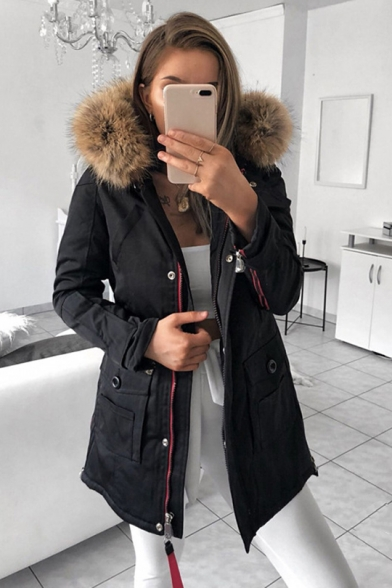Women's Winter Plain Jacket Fashion Thick Solid Cotton Short-Style Padded Parkas Long Sleeve Fur Hooded Collar Coat
