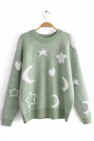 Womens Lovely Moon and Star Print Round Neck Raglan Sleeve Boxy Sweater, LM557114, Blue;green;pink;yellow;khaki