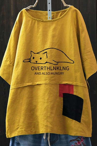 Funny Letter OVERTHINKING AND ALSO HUNGRY Cartoon Lazy Cat Print Patched Round Neck Oversized Linen T-Shirt