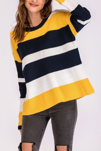 Ladies Trendy Casual Off-Duty Colorblock Print Round Neck Long Sleeve Chenille Sweater, LM557093