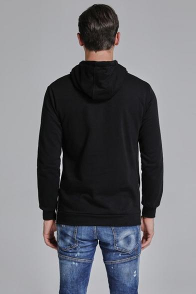 Men's Stylish Zip Splited Side Simple Plain Loose Longline Pullover Drawstring Hoodie With Pocket