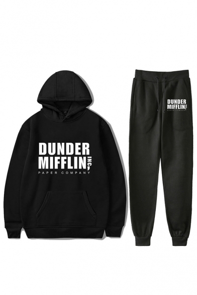 New Trendy Letter Dunder Mifflin Printed Loose Hoodie with Sport Sweatpants Two-Piece Set, Black;dark navy;red;white;gray, LC560356