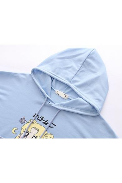 Popular Comic Girl Sailor Moon Letter Print Long Sleeve Pullover Hoodie