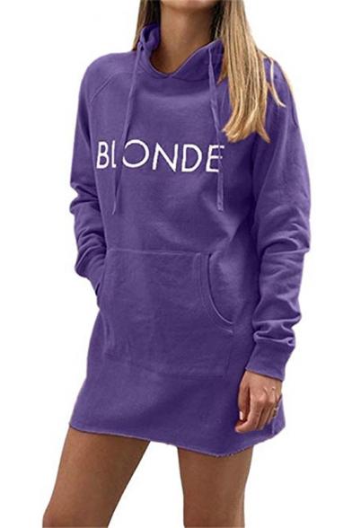 Simple BLONDE Letter Printed Long Sleeve Hooded Sweatshirt Dress