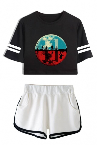 Stranger Things Upside Down Figure Print Stripe Short Sleeve Crop Tee with Dolphin Shorts Two-Piece Set, LC559015, Color 1;color 2;color 3;color 4;color 5;color 6;color 7;color 8