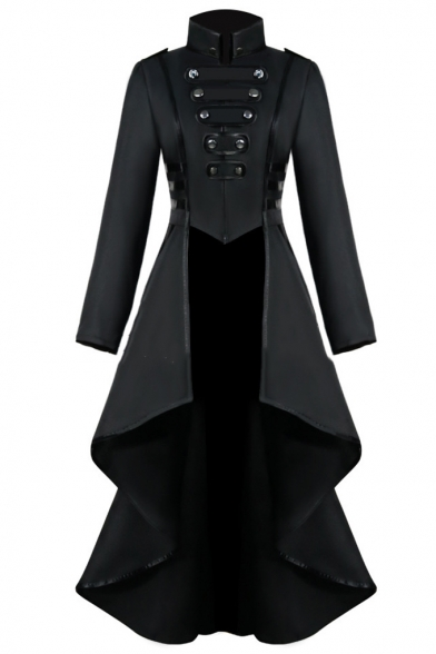 Womens Hot Popular Vintage Medieval Retro Cosplay Costume Turn-Down Collar Long Sleeve Longline Asymmetrical Swallowtail Coat