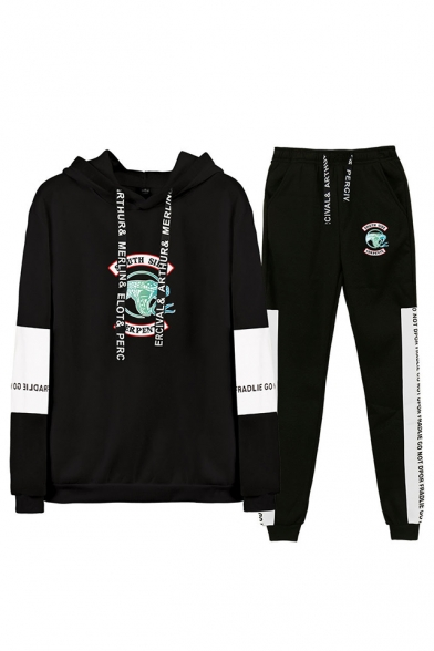 Fashion Snake Logo Print Colorblock Long Sleeve Hoodie with Sweatpants Two-Piece Set, Black;dark navy;gray;white-black, LM560016