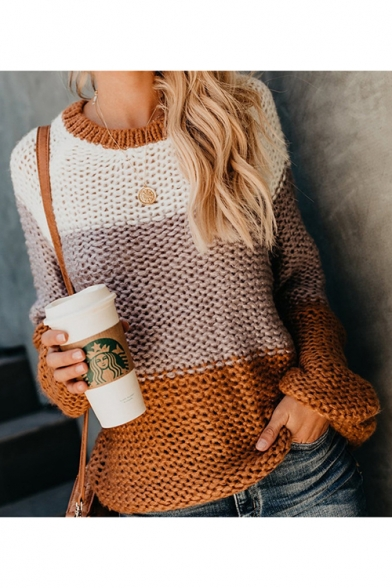 Ladies Popular Patchwork Print Round Neck Bloomer Sleeve Chunky Knit Sweater