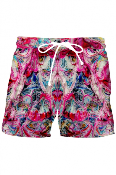 Men's Creative Fashion Abstract Printed Drawstring Waist Pink Polyester Relaxed Sports Sweat Shorts