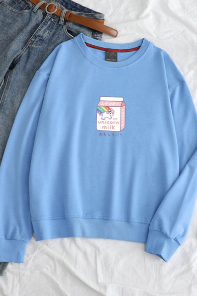New Stylish Unique Milk Carton Unicorn Letter Printed Round Neck Long Sleeve Sweatshirt