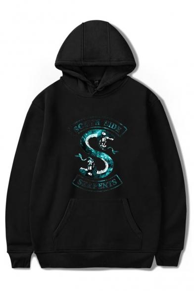 Popular Snake Logo Printed Long Sleeve Unisex Pullover Hoodie