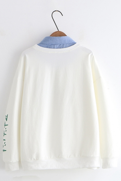 Avocado Letter Printed Lapel Collar Patched Long Sleeve Two Pieces Fitted Sweatshirt