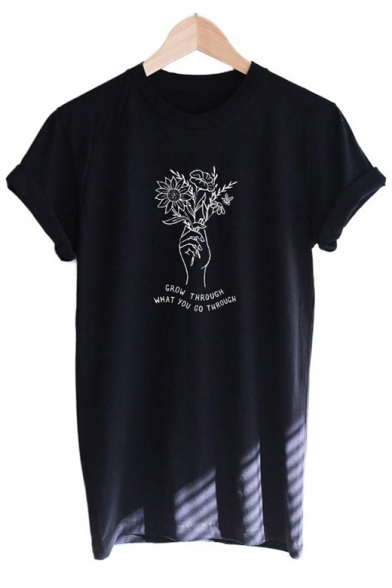 Grow Through What You Go Through Floral Letter Pattern Short Sleeve Tee, LC560113, Black;white