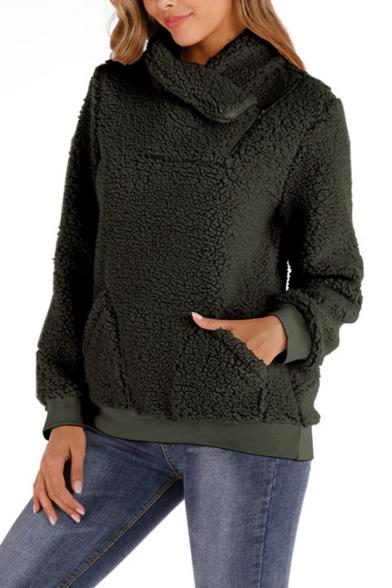 Hot Popular Plain Zipper Turn-Down Collar Fluffy Fleece Teddy Sweatshirt With Pockets