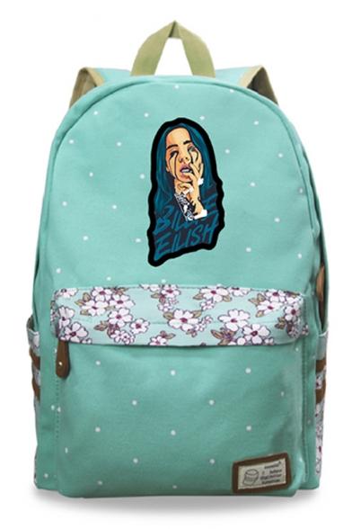 New Trendy Cool Bleeding Figure Floral Print Canvas School Bag Backpack 30*14.5*42cm