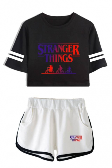 Stranger Things Biker Figure Print Stripe Short Sleeve Crop Tee with Dolphin Shorts Two-Piece Co-ords, LC559009, Color 1;color 2;color 3;color 4;color 5;color 6;color 7;color 8
