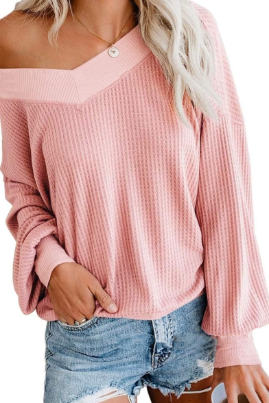 Stylish Plain V-Neck Off the Shoulder Long Sleeve T-Shirt, LC562958, Baycheer  - buy with discount