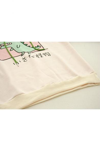 Cute Dinosaur Letter Printed Color Block Long Sleeve Dinosaur Shape Apricot Hoodie