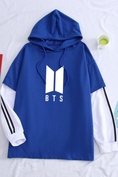 Fashion Kpop Boy Band Logo Printed Patched Long Sleeve Fake Two-Piece Loose Fit Hoodie, Blue-white;blue-black, LC558957
