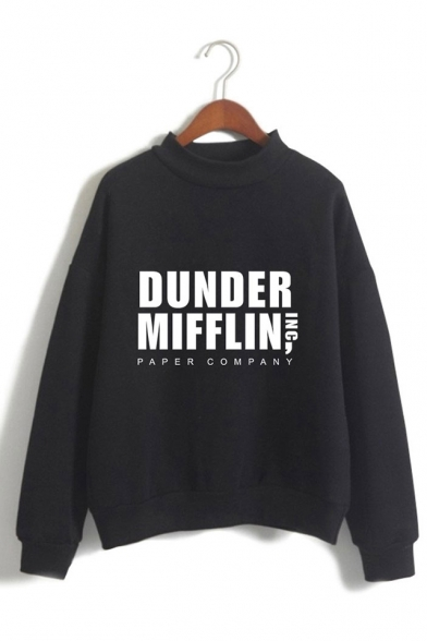 Fashion Letter Dunder Mifflin Printed Mock Neck Long Sleeve Pullover Sweatshirt