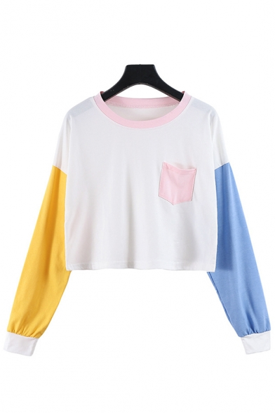 Girls Color Block Round Neck Long Sleeve White Crop Pullover Sweatshirt