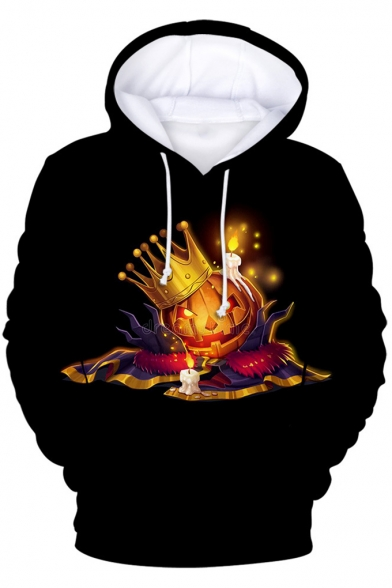 Halloween Funny Crown Pumpkin Printed Black Long Sleeve Pullover Drawstring Hoodie