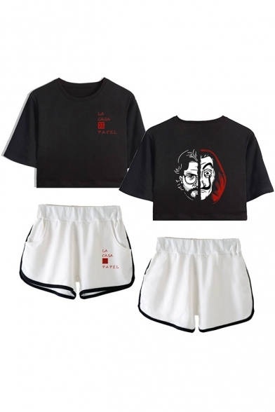 Hot Popular Money Heist Figure Printed Short Sleeve Crop Tee with Dolphin Shorts, LM560022, Color 1;color 2;color 3;color 4;color 5;color 6;color 7;color 8