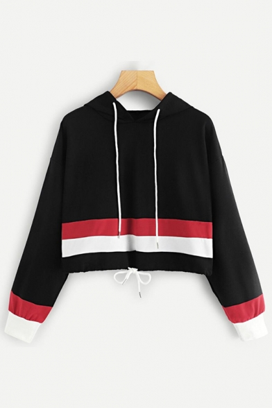 Striped Print Long Sleeve Black Loose Crop Hoodie