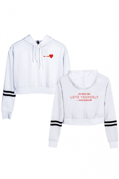 Kpop Boy Band Heart Letter LOVE YOURSELF Printed Stripe Long Sleeve Crop Hoodie
