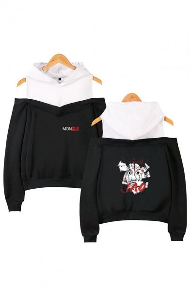 Money Heist Figure Printed Fashion Cold Shoulder Long Sleeve Pullover Hoodie, LM559971, Black;dark navy;pink;gray