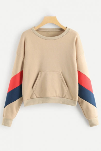 Simple Striped Long Sleeve Round Neck Apricot Pullover Sweatshirt