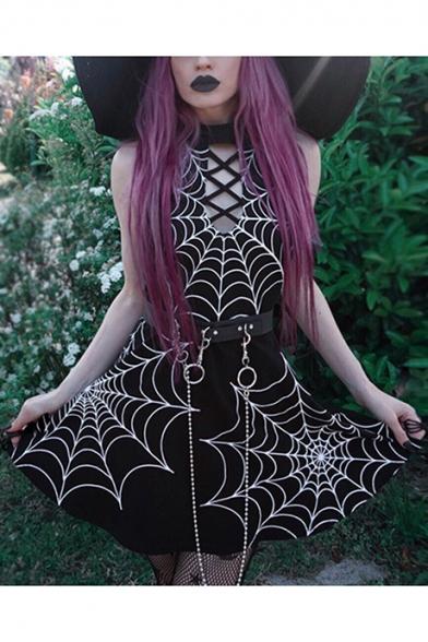 Stylish Spider Web Printed Lattice Embellished Sleeveless Black Mini Bodycon Dress, LC561953