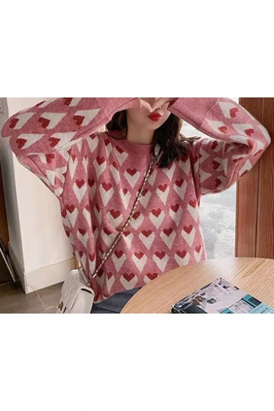 Stylish Womens Lovely Heart Print Round Neck Bloomer Sleeve Sweater, LM557112, Green;pink;yellow