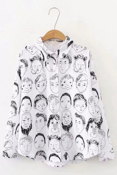 Vintage Face Portrait Print Long Sleeve White Loose Casual Shirt