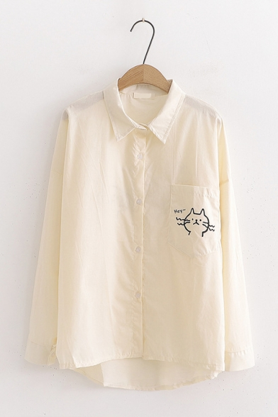 Cartoon Cat Pattern Campus Style Long Sleeve Loose Fit Button Shirt