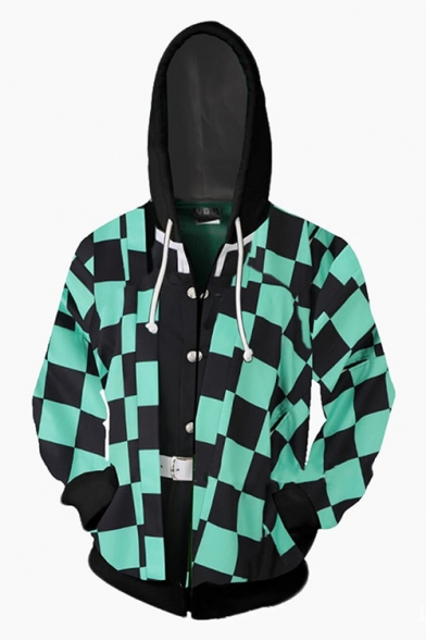 Comic Cosplay 3D Plaid Print Color Block Long Sleeve Green Zip Up Hoodie