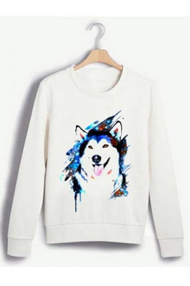 Cute Cartoon Wolf Print Round Neck Long Sleeve White Sweatshirt, LC560472