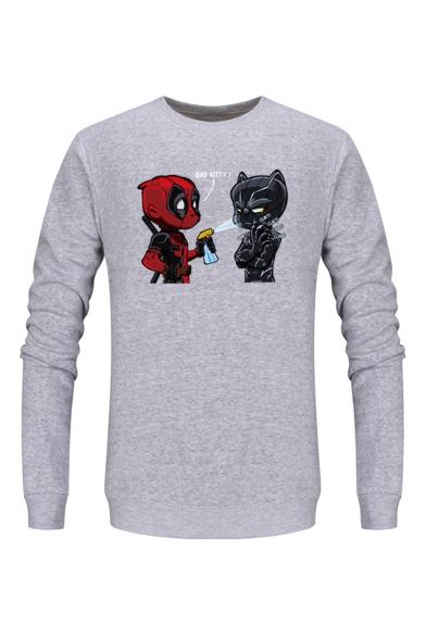 Cute Comic Figure Printed Long Sleeve Casual Sports Pullover Sweatshirts