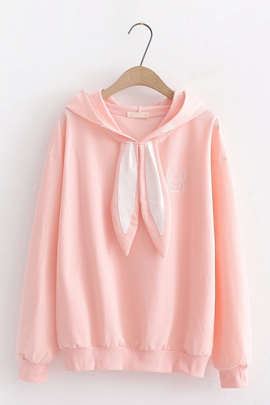 Cute Rabbit Embroidered Long Sleeve Rabbit Ear Embellished Color Block Hoodie