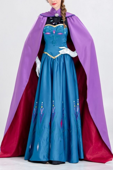 Fancy Blue Princess Anna Comic Cosplay Costume Maxi Swing Cape Dress Gown Dress