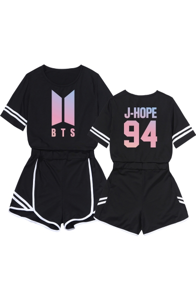 Fashion Kpop Boy Band Logo Printed Short Sleeve Tee with Loose Shorts Two-Piece Set, LC560121