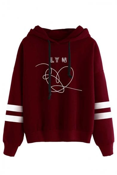Fashion Kpop Boy Band Logo Printed Stripe Long Sleeve Unisex Hoodie, Black;burgundy;gray, LC560144