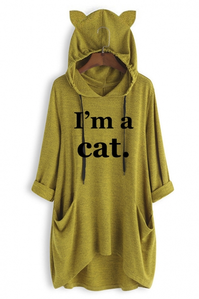 Fashion Letter I' a Cat Printed Cute Ear Design Dipped Hem Longline Hoodie, Blue;pink;gray;yellow, LC558922